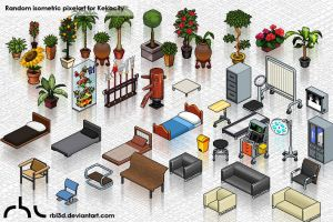 Random isometric objetcs for Kekocity by rbl3d