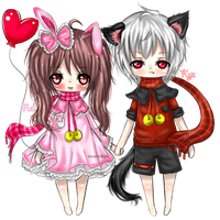 Chibi NO BG - gift [ Usa and Neko =3= ] by KikoChi