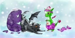 Pwee and Smok Hatchlings in winter by TrinslucentSkye