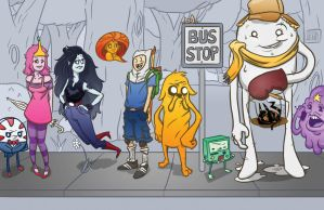 Waiting at the bus stop, Adventure Time! by Splittingadams