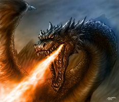 Fire Breathing Dragon by TheRisingSoul