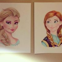 Anna and Elsa Frozen by blueskydrops8