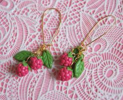 Raspberry Earrings by Madizzo