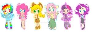 Mane six stickers~ by Lil-Wang