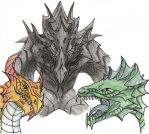 Alduin and dragons by Flying-With-Dragons