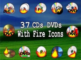 37 CDs And DVD icons with fire by zman3