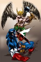 Captain America vs Hawkman by MarcBourcier