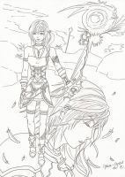 FFXIII-2 Serah and Lightning by Malva-Crystal