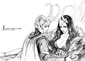 Lady Loki and Loki by setsuna1111