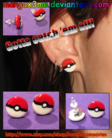 Pokemon Pokeball earrings by MangaX3me