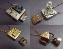 Industrial Chic Electronic Hardware Pendants by tursiart
