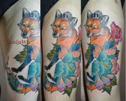 Tattoo Fox and Peony by Xenija88