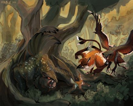 Wolf v fox by FablePaint