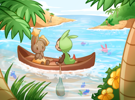 Buneary and Chespin by TrainerPink