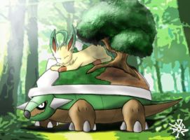 Torterra and Leafeon by Florensa