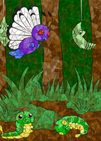 Stained Glass Pokedex: #010-#012 by Joceysheep