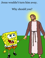 Jesus and SpongeBob by Lordrokesh