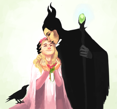 MALEFICENT flower kiss by Hatterina