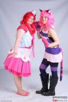 Pinkie Pie and her friend Cheshire Cat by Celestia-In-Love