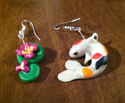 Koi Earrings by Pyronic-Tiger