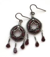 coiled garnet earrings by annie-jewelry