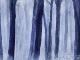fog in the blue forest by imageking10