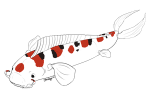 Koi Fish Lineart by smudge-92