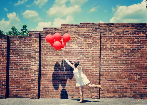 Girl with the Red Balloon by beautyinthebreaking