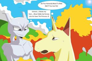 Mewtwo Riding Rapidash by Natty354