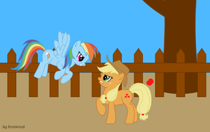 Rainbow Dash vs Applejack by IronwoodAKACleanser