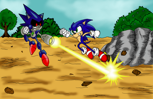 Sonic VS Metal Sonic by Code-E