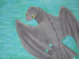 Toothless Swimming Painting by DragonsAndDreamscape
