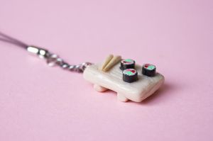 Mini Sushi Tray Phone Charm 2 by theaquallama
