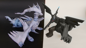 Pokemon Reshiram and Zekrom Papercraft by Sabi996