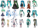 Many Outfits Of Tinier Me Miku by Alice-HumanSacrifice