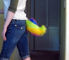 Furry curly tip RAINBOW tail by SPPlushies