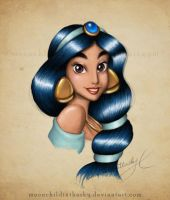 Jasmine Portrait Color by MoonchildinTheSky