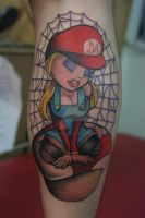 Marios Magic Mushroom Tattoo by Lucky-Cat-Tattoo