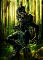 Wolf in the forest by Ruchiel