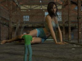Warehouse Giantess Encounter by Allogagan