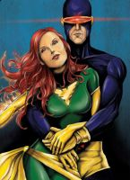 Cyclops and Jean by jlonnett