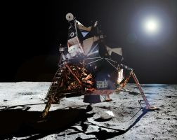 Aldrin leaves Apollo 11 LM Eagle by snople