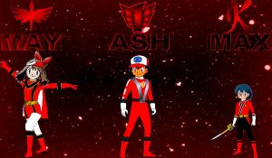 May Max and Ash as Red Rangers by rangeranime