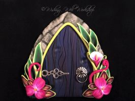 Polymer Clay Fairy Door Dark Blue by missfinearts