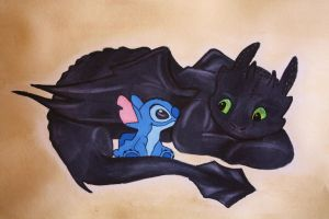 stitch and toothless by x-kaitlin-x