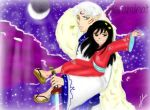 Purple Sky_Rin and Sesshomaru by Haramihat