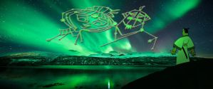 Samurai Jack's Mom and Dad in an Aurora Borealis by timbox129