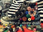 Rainbow Buttoned Converse 2 by JokerIsMYFreak