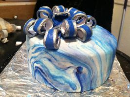 Blue marbled cake by kcitten6