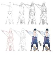 Step by step: Uchiha Sasuke by Johnny-Wolf
